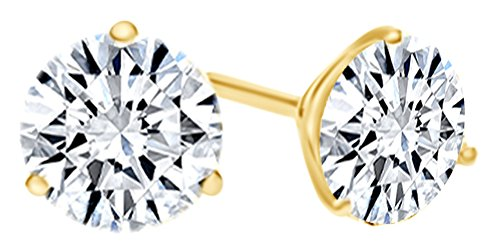 Round Shape White Natural Diamond Martini Style Stud Earrings In 14K Solid Yellow Gold (1 Ct)