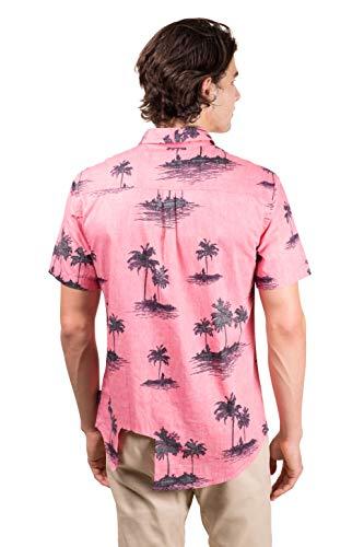 3428be35 Brooklyn Athletics Men's Hawaiian Aloha Shirt Vintage Casual Button Down Tee,  Light Pink Palms Medium
