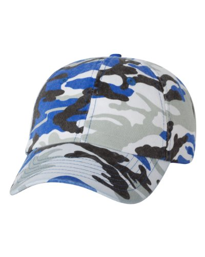 Valucap Six Panel Bio-Washed Unstructured Cap, Royal Camo, Adjustable