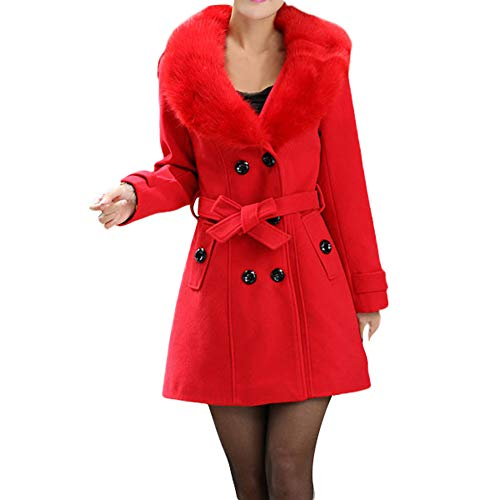 Chaofanjiancai Womens Winter Double-Breasted Lapel Wool Coat Trench Jacket Slim Overcoat Outwear with Belt Red