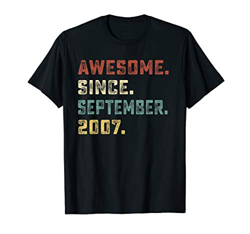 Retro Awesome Since September 2007 11th Birthday Shirt