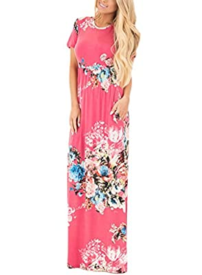 HOTAPEI Women's Floral Print Long Dress Short Sleeve Empire Flower Maxi Dresses