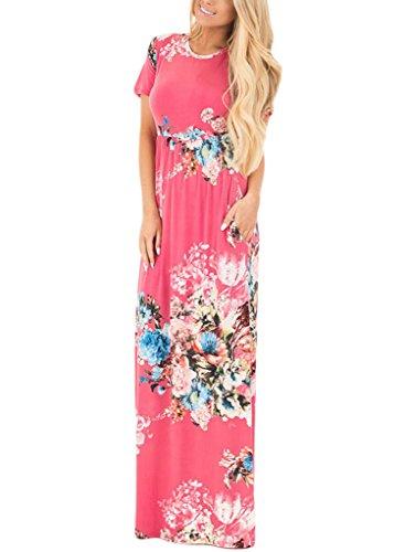 fa09537de HOTAPEI Women's Floral Print Long Dress Short Sleeve Empire Flower ...