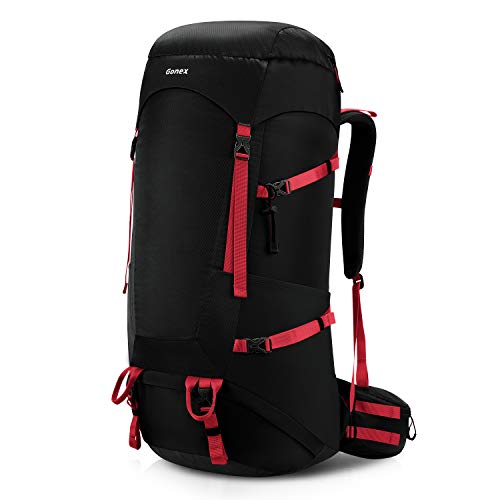 Gonex 65L/75L Hiking Internal Frame Backpack for Backpacking Camping Trekking Traveling Mountaineering with Rain Cover for Men Women Black (Best Internal Frame Backpack For Traveling)