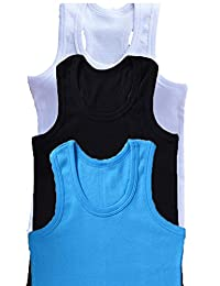 Sukidaya Tank Top Girls Boys Cotton Solid Color White Black Blue 3 pack 3-14 year