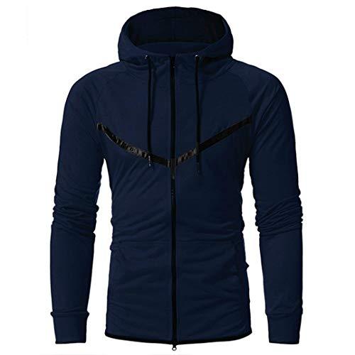 Hoodies Men, FORUU Patchwork Hooded Sweatshirt Tops Jacket Coat Outwear ()