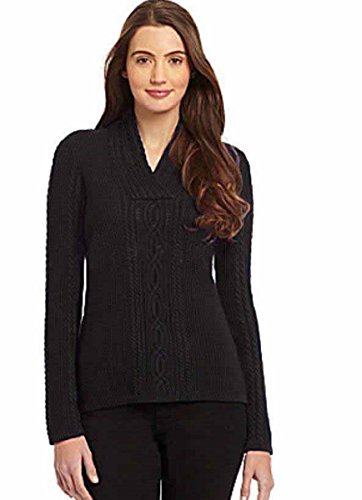 Nautica Women's Shawl Collar Fisherman Cable Knit Long Sleeve Sweater (X-Large, Black)