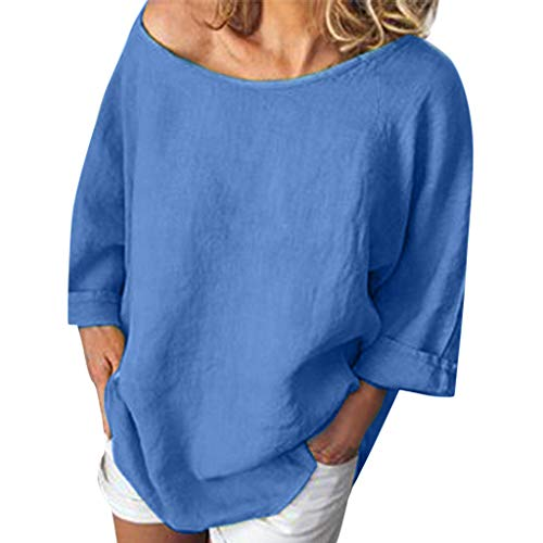 Sunyastor Women Loose 3/4 Sleeve Shirt Dress Cotton Linen Blouse Casual O-Neck Solid Tops Tunic Tee Plus Size