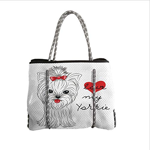 Neoprene Multipurpose Beach Bag Tote Bags,Yorkie,I Love My Yorkie Cute Terrier with its Tounge Out Adorable Yorkshire Terrier,Black White Red,Women Casual Handbag Tote Bags
