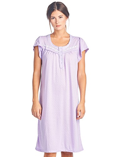 (Casual Nights Women's Short Sleeve Polka Dot and Lace Nightgown - Purple - XX-Large)