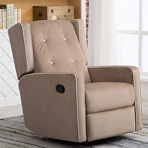 Canmov 360 Degree Swivel Rocker Recliner Chair-Manual Reclining Chair, Mocha