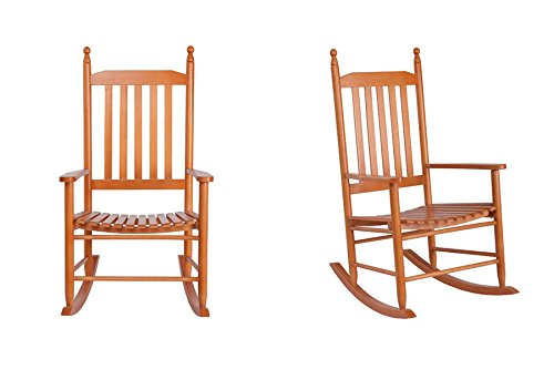 eXXtra Store Patio Walnut Rocking Chair Garden Wood Furniture Backyard Deck Porch Rocker + eBook