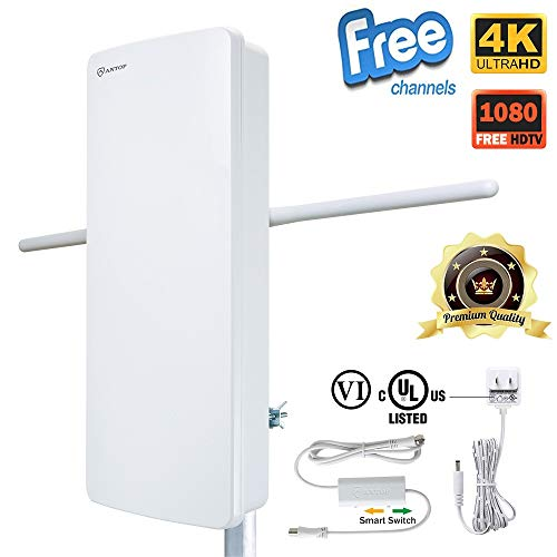 Antop Outdoor TV Antenna with VHF Enhanced and Smartpass Amplified Multi-Directional Reception 85 Miles, Deliver The Smooth Clear Picture for You