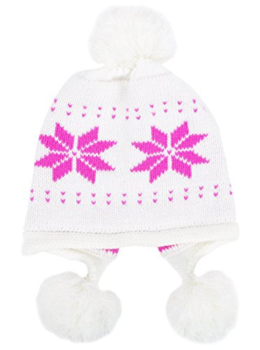 Simplicity Womens Winter Snowflake Knit Beanie w/Earflap and Pom Balls, White