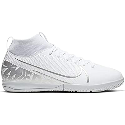 Nike Jr. Mercurial Superfly 7 Academy IC Kids' Indoor/Court Soccer Shoe- White/Silver (4.5Y)