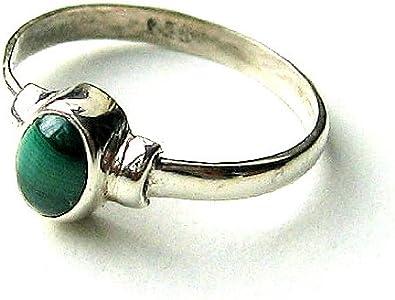 Ley Shanya plata elegante anillo artesanal verde Malaquita