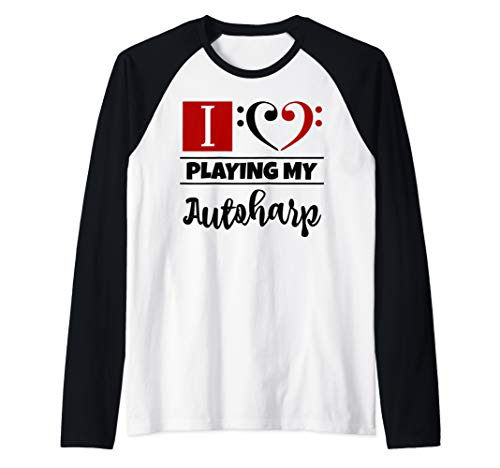 Double Bass Clef Heart I Love Playing My Autoharp Musician Raglan Baseball Tee