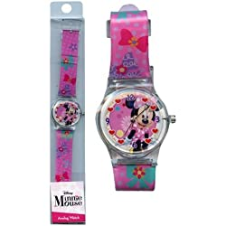 Minnie Analog Watch with printed Band in Long PVC Box