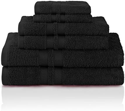 Superior 100 Cotton Bath Towel Set 6 Piece Set 2 Bath Towels 2 Hand Towels And 2 Washcloths Honeycomb Border Black Home Kitchen