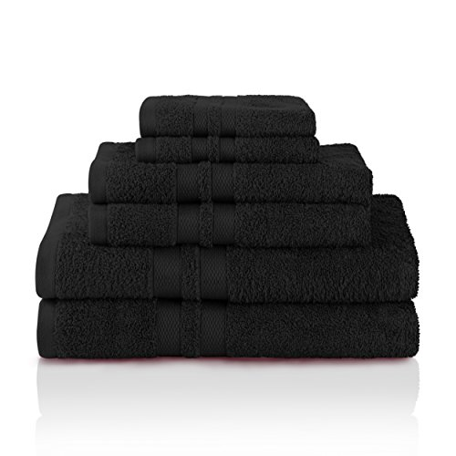 Superior 100% Premium Cotton Ultra Soft 6 Piece Towel Set, 2 Bath Towels, 2 Hand Towels, and 2 Washcloths with Unique Honeycomb Double Border, Black