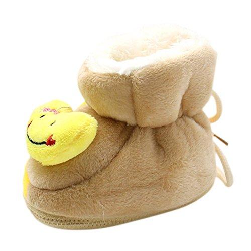 Tefamore Botas bebes de prewalker de nieve de antideslizante de sole suave de moda invierno de calentar marrón