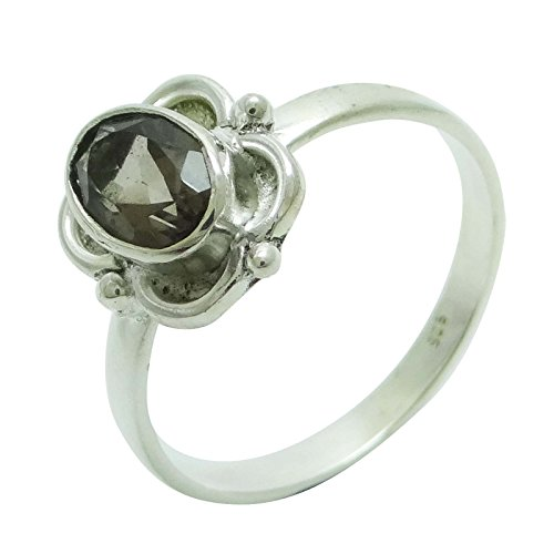 Banithani 925 Sterling Silver Smoky Topaz Ring Indian Fashion Jewelry Gift For Women
