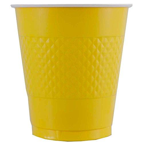 Yellow Plastic Medium 12 Ounce Cups Tableware - 20 pk