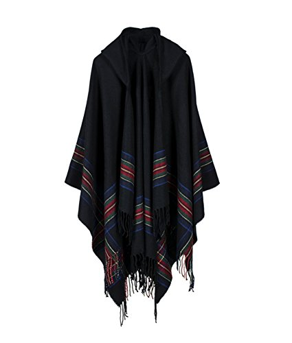 Engood Women's Floral Printed Wool Hooded Tassel Poncho Cape Pashmina Cardigans Sweater Coat Black