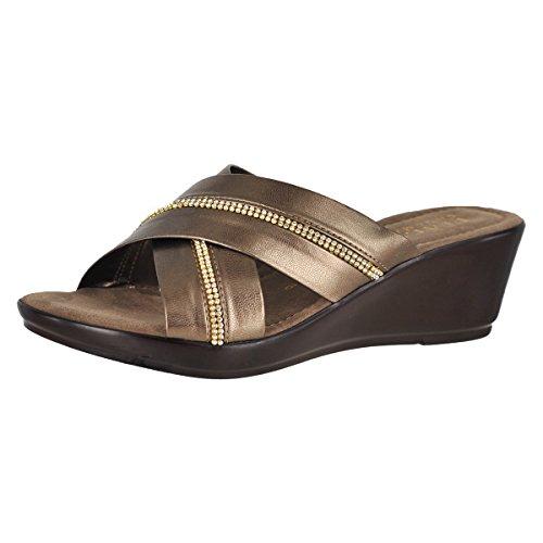 Italian Shoemakers 5500S8 Pearl Brass Womens Slide Size 10M -