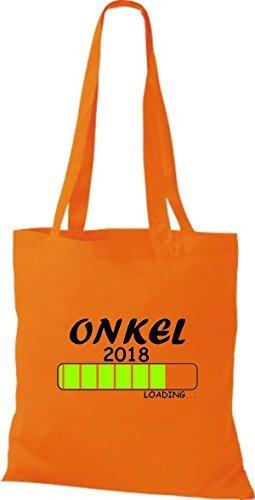 ShirtInStyle Bolsa de tela Bolsa de algodón ONKEL 2018 Cargando Geburt Regalo - fucsia, 38 cm x 42 cm Naranja