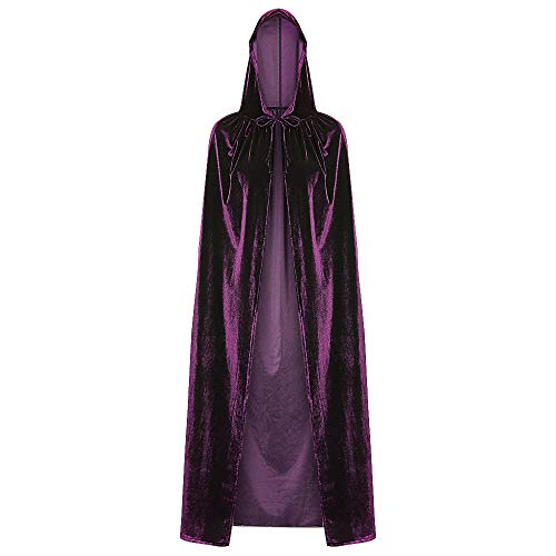 DEZZAL Unisex Halloween Christmas Cosplay Costume Hooded Cloak Long Velvet Cape (Plum Purple)