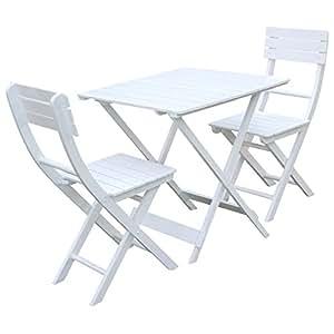 Charles Bentley jardín Patio muebles de jardín Bistro juego de mesa de madera y 2-chairs–blanco (3unidades)