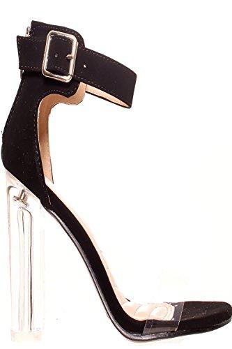 Elegante Punta Aperta Posteriore Con Cerniera Trasparente Trasparente Perpetuo In Perspex Tacco Alto Nero-chacha-10