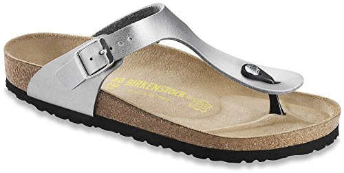 Womens Holiday Sandals (Birkenstock Womens Gizeh Birko-Flor Casual Holiday Silver Flip Flops - Silver - 10)