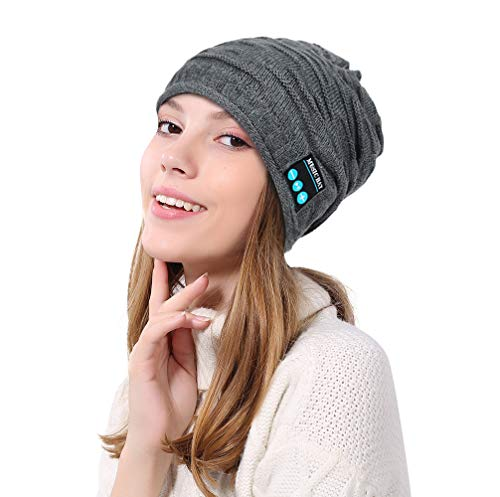 Nintendo Beanie Figure - Dreamyth- Unisex Bluetooth Wireless Headset Music Beanie Knit Hat with Speakers Practical (Gray, 22.5 x 21.5cm/8.9 x 8.5inch)