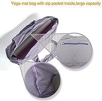 Bolso grande con cremallera para esterilla de yoga, bolsa con correa de transporte de yoga, bolsa de lona de algodón, 2 bolsillos adicionales para 2 ...