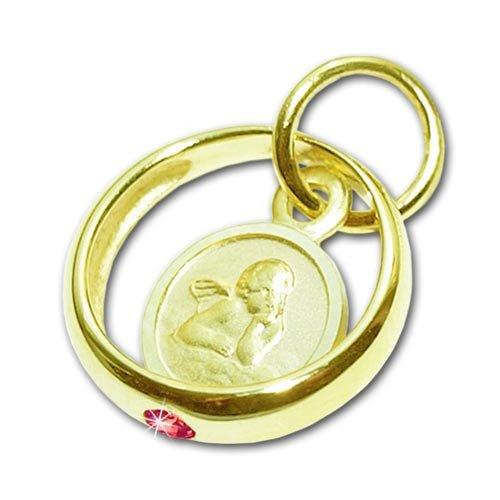 CLEVER SCHMUCK Goldener Mädchen Taufring 12 mm mit Engel rund und Edelstein Rubin rot glänzend 333 Gold 8 Karat ahg101(s)