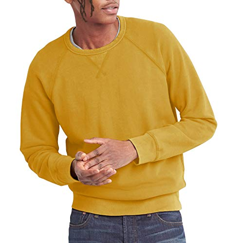 (Hat and Beyond Mens French Terry Crewneck Sweatshirt Lightweight Fleece Pullover Sweater(Medium,1hc18_Mustard))
