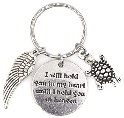I Will Hold You in My Heart Until I Hold You in Heaven Angel Wing Turtle Keychain 114V