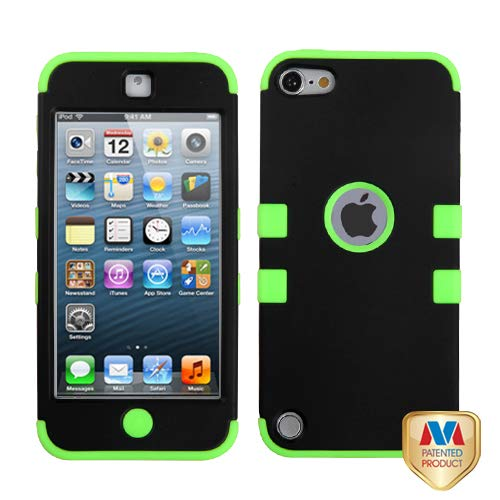 Asmyna Rubberized Black/Electric Green TUFF Hybrid Protector Cover for iPod touch ()