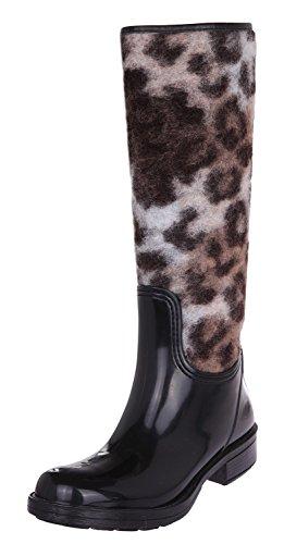 Just Cavalli YODA01-80850 Femmes Caoutchouc Bottes High-top Noir-brun
