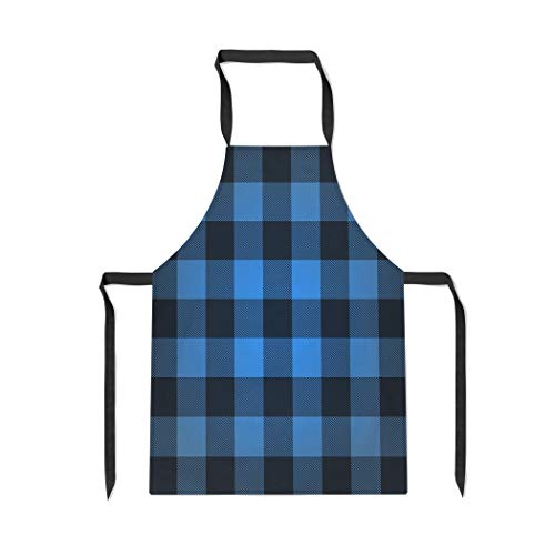 uffalo Lumberjack Plaid Pattern Check Abstract Black with Adjustable Neck for Cooking Baking Garden ()
