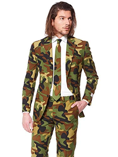 OppoSuits Men's Commando Party Costume Suit, Green/Black/Brown, 50 -