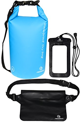 Freegrace Waterproof Dry Bags Set of 3 Dry Bag with 2 Zip Lock Seals & Detachable Shoulder Strap, Waist Pouch & Phone Case - Can Be Submerged Into Water - for Swimming (Sky Blue, 5L)