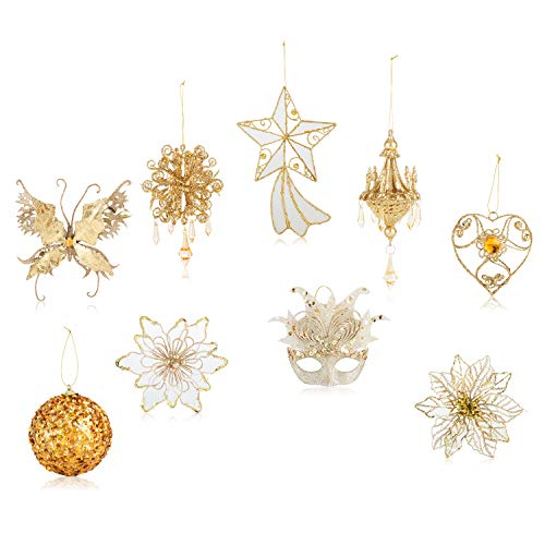 Santa's Gems Christmas Decorations Tree Ornaments Set Gold in Keepsake Box (Christmas Transparent Ornaments)