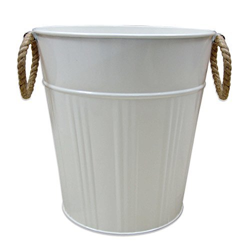 Asbury Nautical Themed Galvanized Steel Metal Wastebasket, Rope Handle, 10-in High x 9.75-in Diameter, WHITE (1)