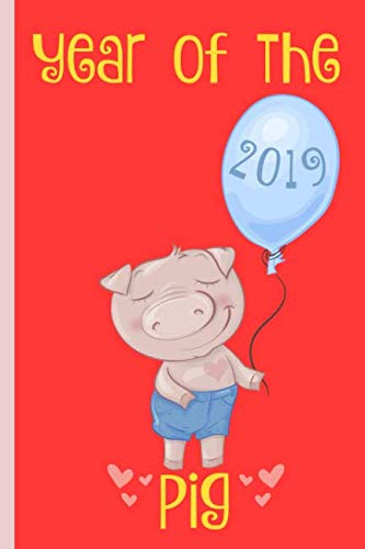- Year of the pig: Chinese New Year, Zodiac sign, Notebook, blank lined journal, red