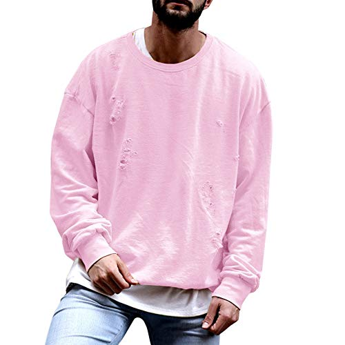 - Fashion Mens Fresh Loose Long Sleeve Ripped Hole O-Neck Shirt Loose Tops