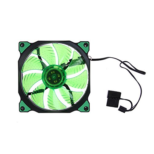 Alloet 15 LED Lights Clear 120mm Quiet PC Computer Case Cooling Fan Mod All Color (Green)