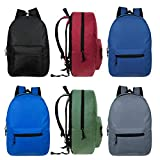 15'' Wholesale Kids Basic Backpack in 6 Assorted Colors - Bulk Case of 24 Bookbags